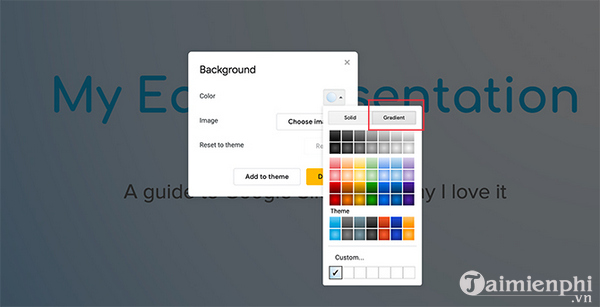 How to create and use gradients in google sides 3