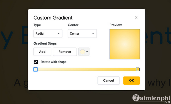 How to create and use gradients in google sides 6