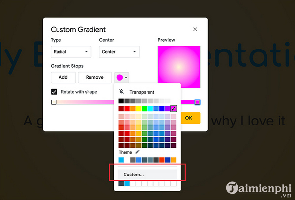 How to create and use custom gradients in google sides 8