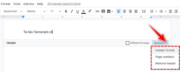 Tao Header and Footer in Google Docs