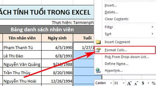 how old are you in excel 4