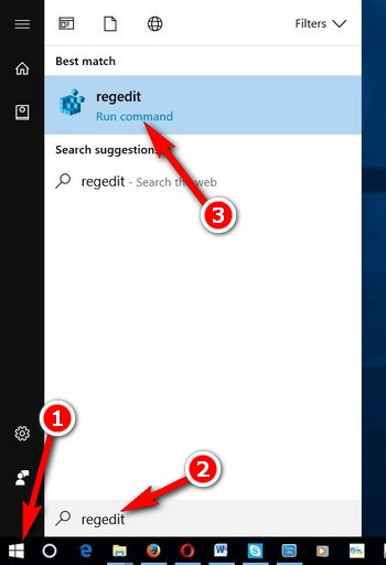 Go to the registry editor on Windows 10