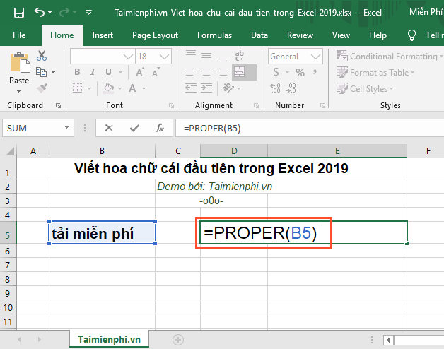 How to create the first letter in Excel 2019 5