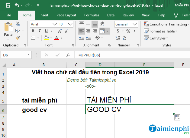 How to create the first letter in Excel 2019 8