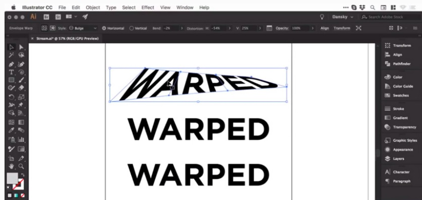 how to warp warp control in adobe illustrator 7