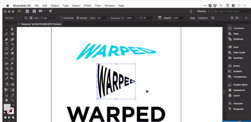 How to warp warp control in adobe illustrator 10