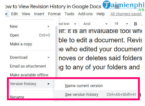 how to view document history on google docs 2