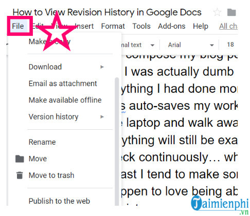 How to view the document history at google docs