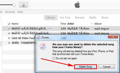 how to delete songs in itunes library 5