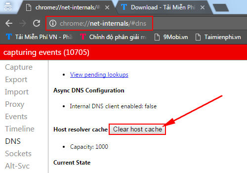 remote chrome dns cache