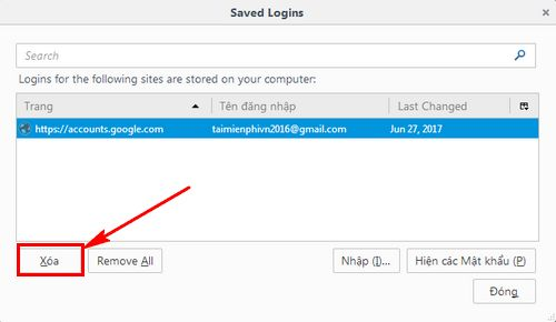 how to delete gmail password stored on firefox 5