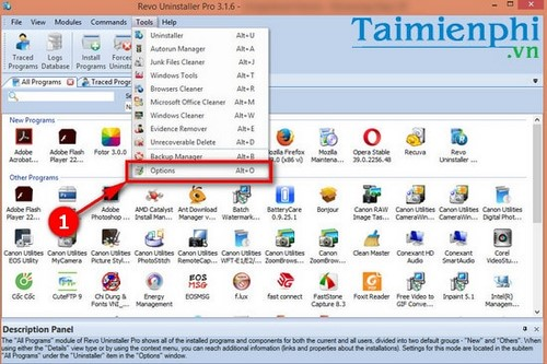Remove the software tray from the system state revo uninstaller pro