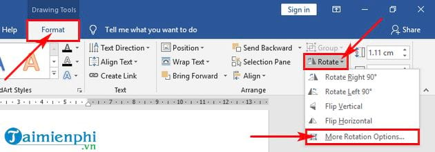 how to rotate cycle in word 5