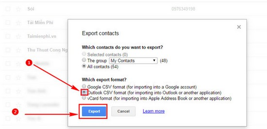 Export Google Mail directory