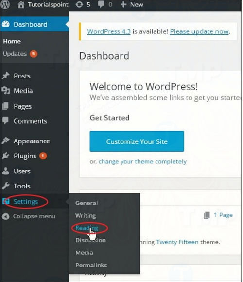setting reading in wordpress 2