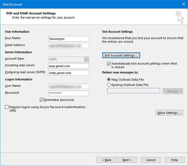 Install gmail into outlook 2016 with imap 7