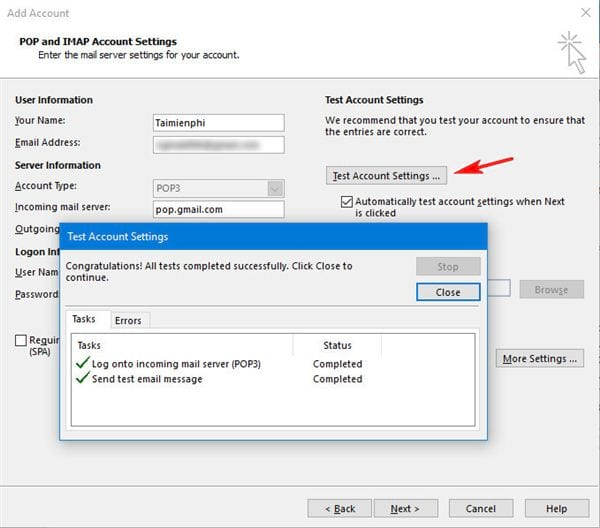 Install gmail into outlook 2016 with imap 10