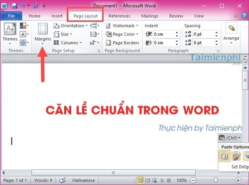 Can le chuan in word can van ban word 2013, 2016