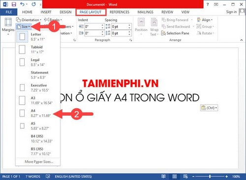 Select the A4 file in word file