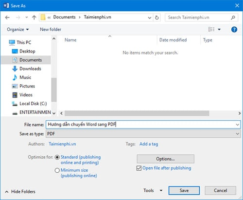 how to convert word to pdf on word 2016