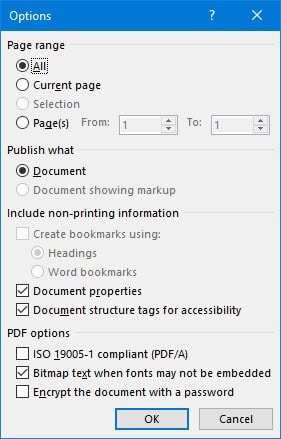 convert text to pdf on word 2016