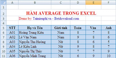 Ham average in excel