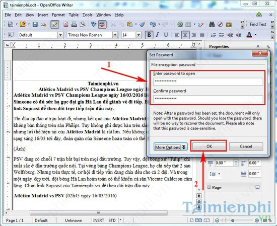 Install the word file openoffice