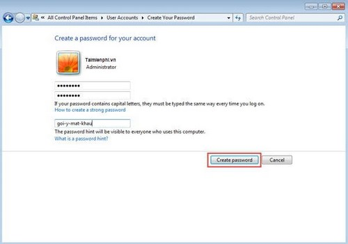 how to install win 7 password