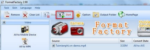 How to change video file format state factory