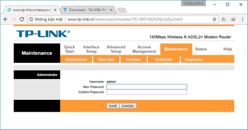change password to wifi router tplink