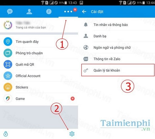 how to change zalo app password on android phone