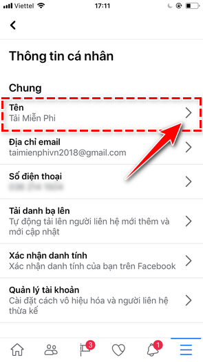 How to change Facebook username on iPhone