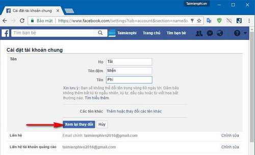 how to change facebook 1 cycle