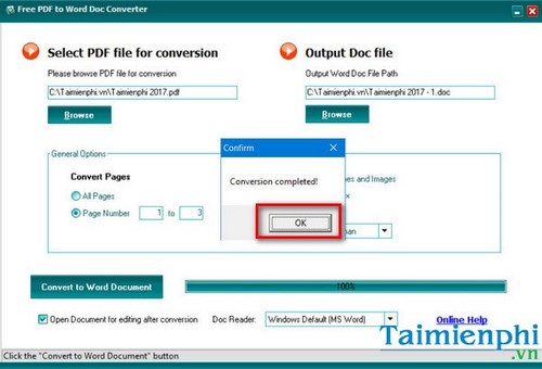 How to change the file folder in free pdf to word doc converter