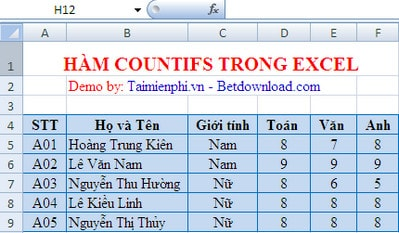 Ham countifs in excel