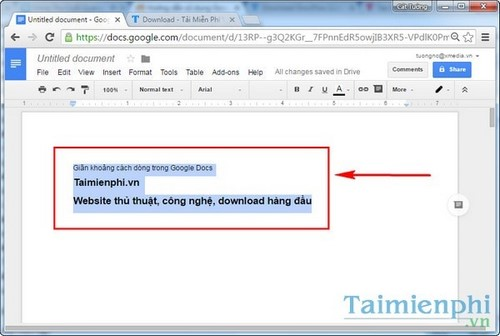 space in google docs service