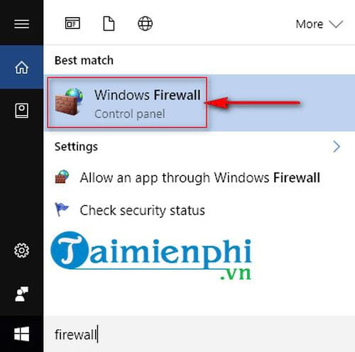 Correct firewall rules on the computer