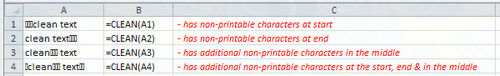 clean clean excel file, remove characters that cannot print in 2
