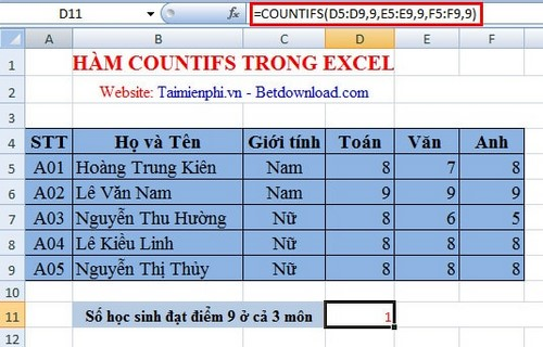 Ham countifs in Excel 2007