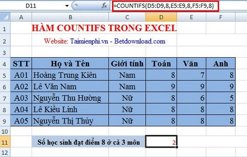 Ham countifs in Excel 2010