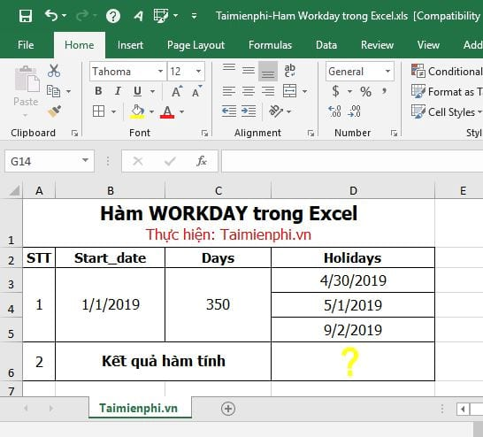 ham workday in excel 2