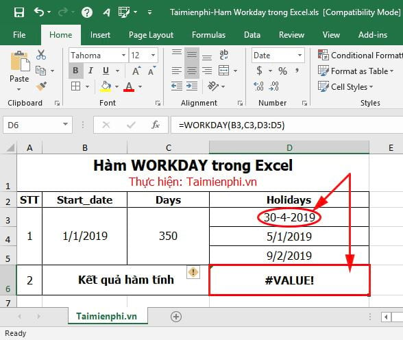 ham workday in excel 5
