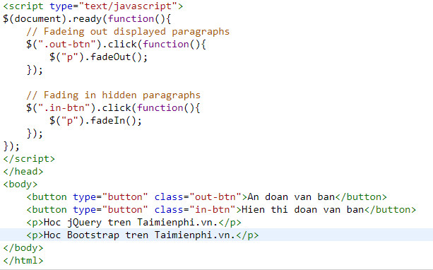 Understanding fade in and fade out in jquery