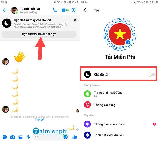 How to enable dark mode on Messenger 5