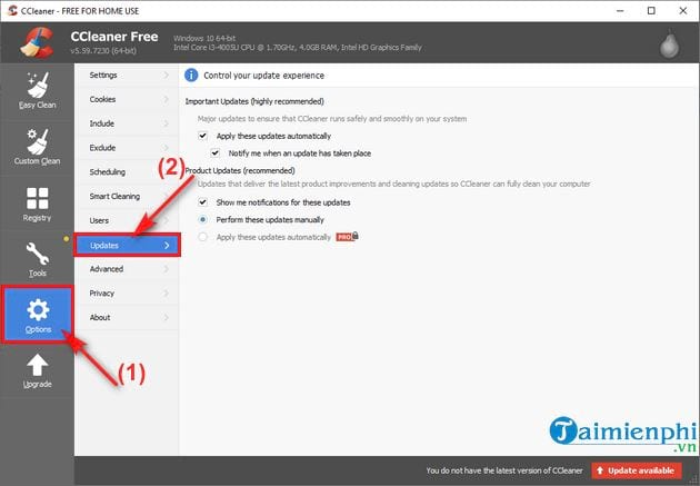 How to configure ccleaner update 2