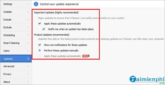How to configure ccleaner update 3