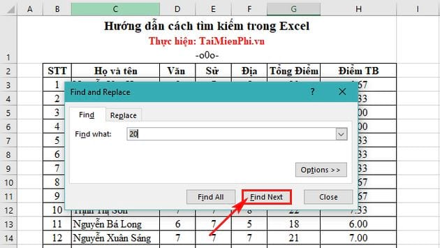 How to find and search data in Excel 4
