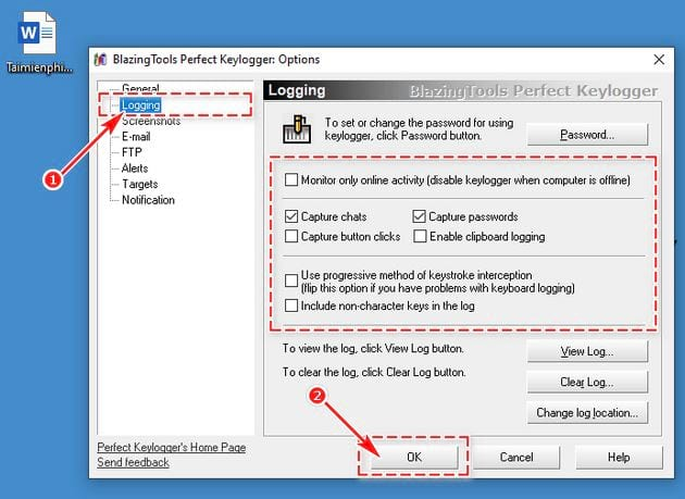 guide and use perfect keylogger 12