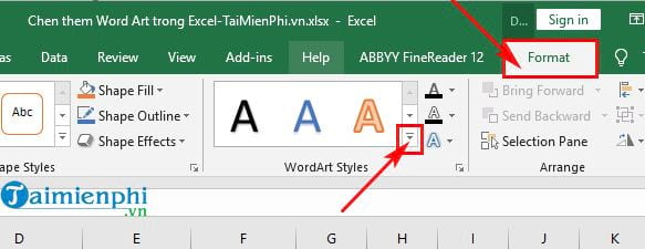 Inserting Word Art in Excel 5