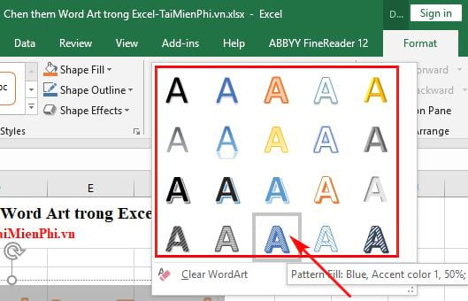 Inserting Word Art in Excel 6